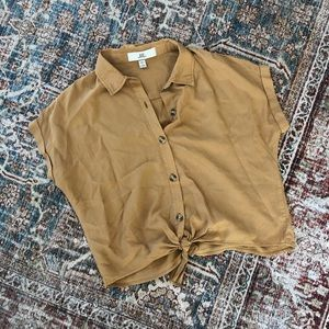 Thread & Supply Tops - Mustard yellow button down tied shirt